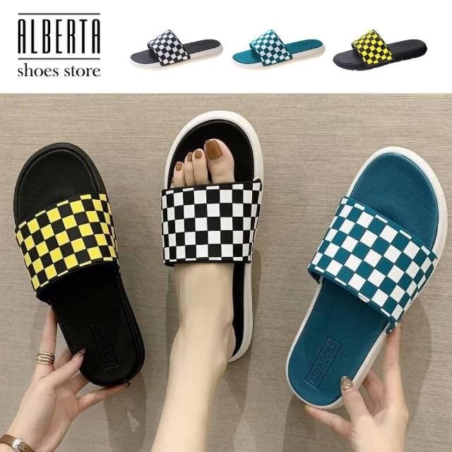 【Alberta】加大碼 2cm拖鞋 休閒百搭經典復古黑白格 防水防雨平底居家室內涼拖鞋 海灘鞋
