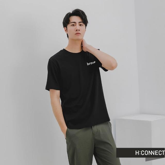 【H:CONNECT】韓國品牌 男裝 -簡約英文個性字樣T-shirt(黑色)