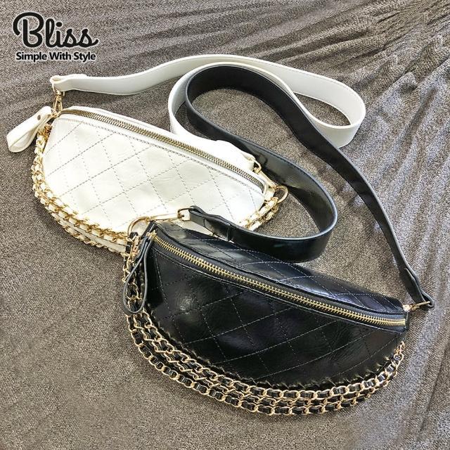 【Bliss BKK】菱格小香風斜跨包 腰包 斜背包 胸包 肩背包(2色可選)
