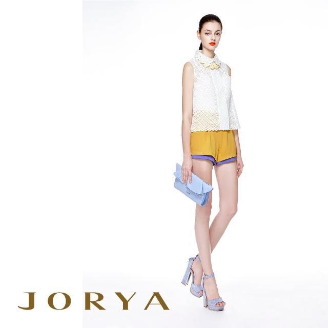 【JORYA】H1203603雙色素面打褶質感桑蠶絲短褲