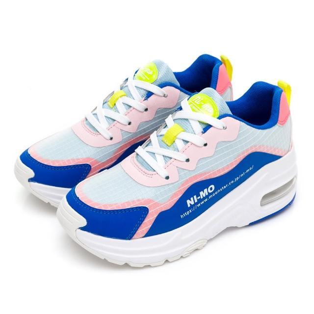 【MOONSTAR 月星】NI-Mo風格提升輕量氣墊休閒鞋(藍綠)