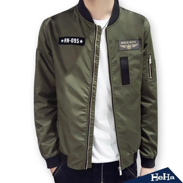 【Heha】外套 軍裝風拼布飛行夾克(三色)