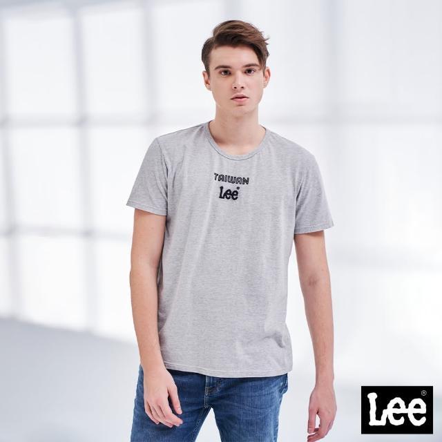 Lee【Lee】Taiwan 小Logo 男短袖T恤-礦石灰