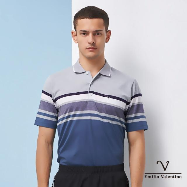 【Emilio Valentino 范倫鐵諾】商務休閒 男裝 英倫風尚雅緻橫紋POLO衫_綠/灰/白(66-1V5102)