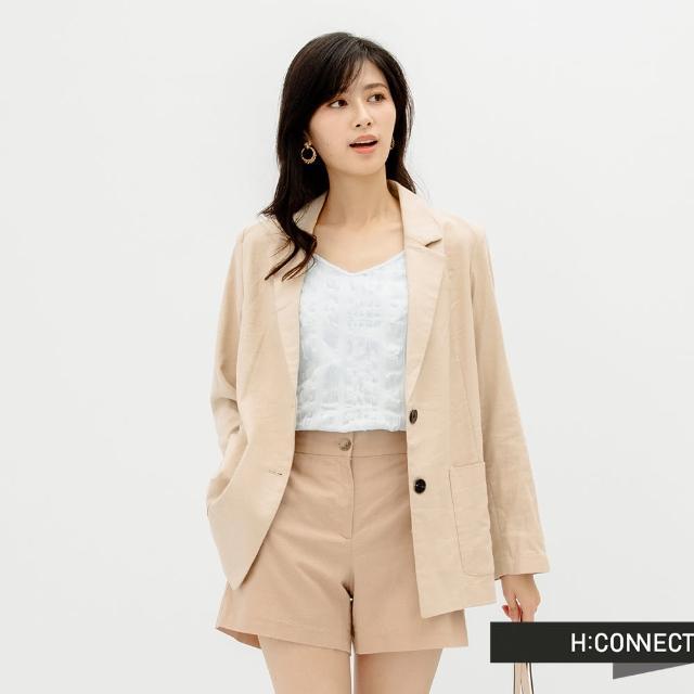 【H:CONNECT】韓國品牌 女裝 -簡約素色西裝短褲(卡其色)