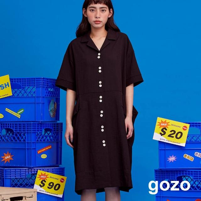 【gozo】裝飾釦短袖襯衫洋裝(兩色)