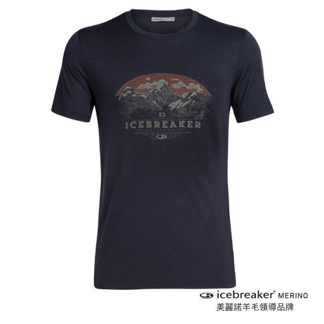 【Icebreaker】男 Tech Lite 圓領短袖上衣-AD150-高山波峰-深藍(IB104941-401/快乾/排汗/登山健行)