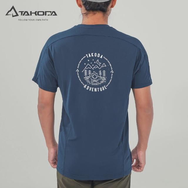 【TAKODA】環保機能短袖印花系列-露營去 男款 深海藍(吸濕排汗/舒適涼感/抗菌吸臭)
