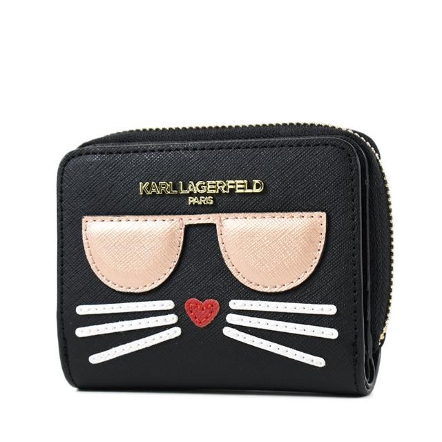 【KARL LAGERFELD 卡爾】金字貓咪防刮皮革釦式短夾-黑色