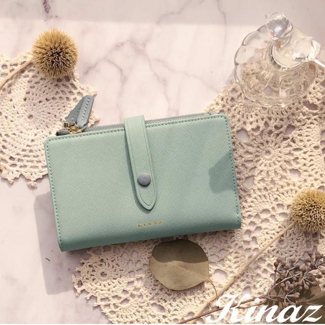 【KINAZ】雙拉鍊包扣防刮紋真皮中夾-茵草綠-糖梅仙子系列