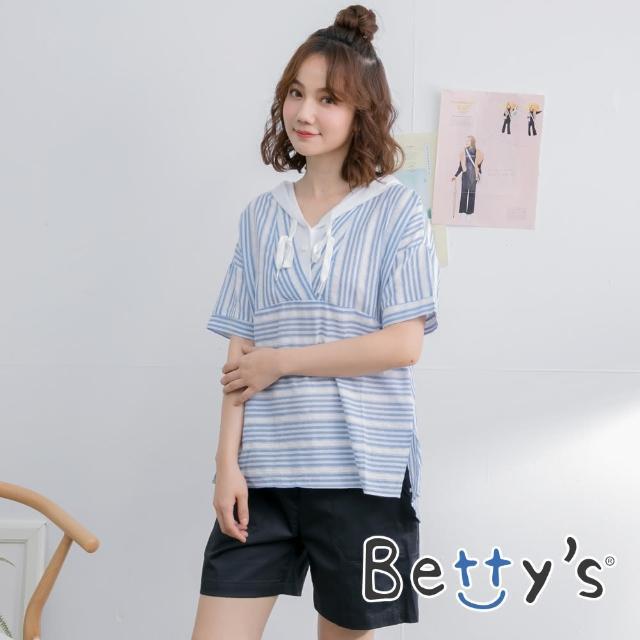 【betty's 貝蒂思】素色直紋休閒短褲(黑色)