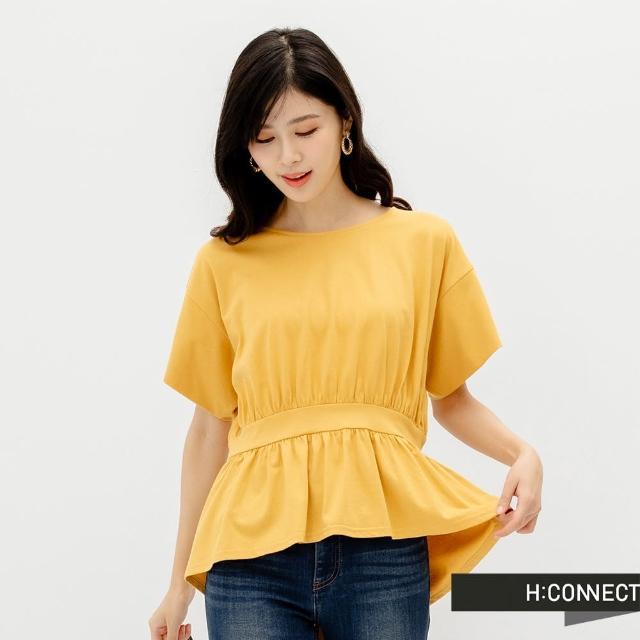 【H:CONNECT】韓國品牌 女裝 -束腰荷葉下擺上衣(黃色)