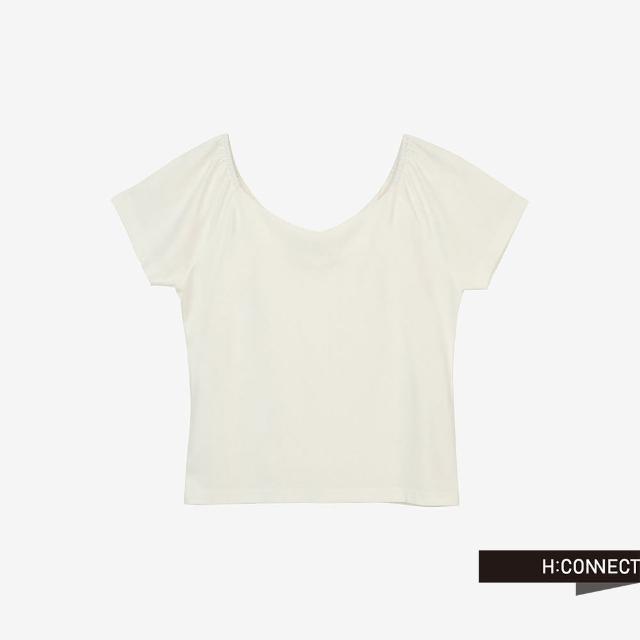 【H:CONNECT】韓國品牌 女裝 -純色大圓領質感短版上衣(白色)