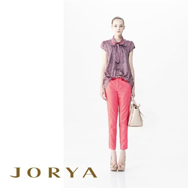 【JORYA】G1201602 打褶線素面典雅合身棉麻長褲