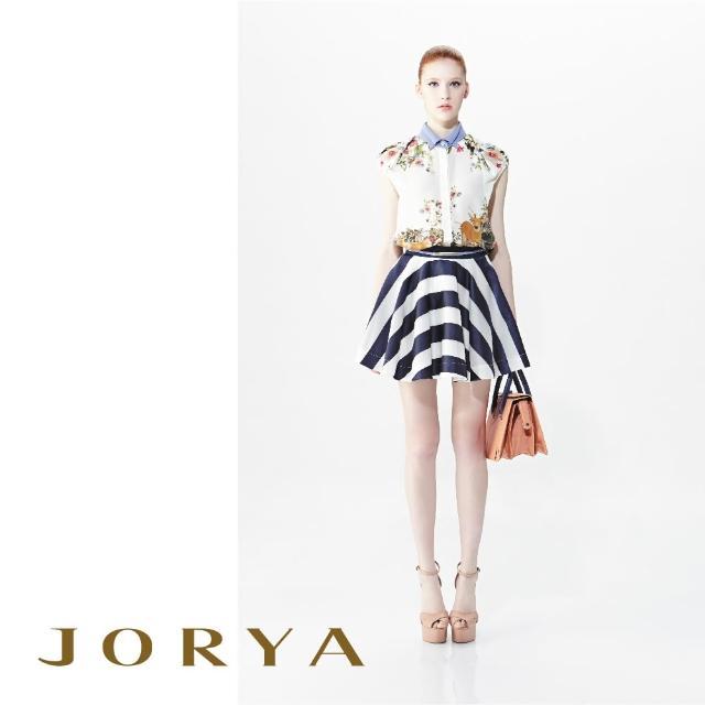 【JORYA】G1201903緞面橫條紋雙色傘狀桑蠶絲短裙