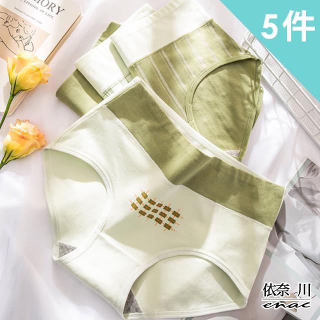 【enac 依奈川】日本和風抹茶色系純棉高腰收腹抑菌內褲(超值4件組-隨機)