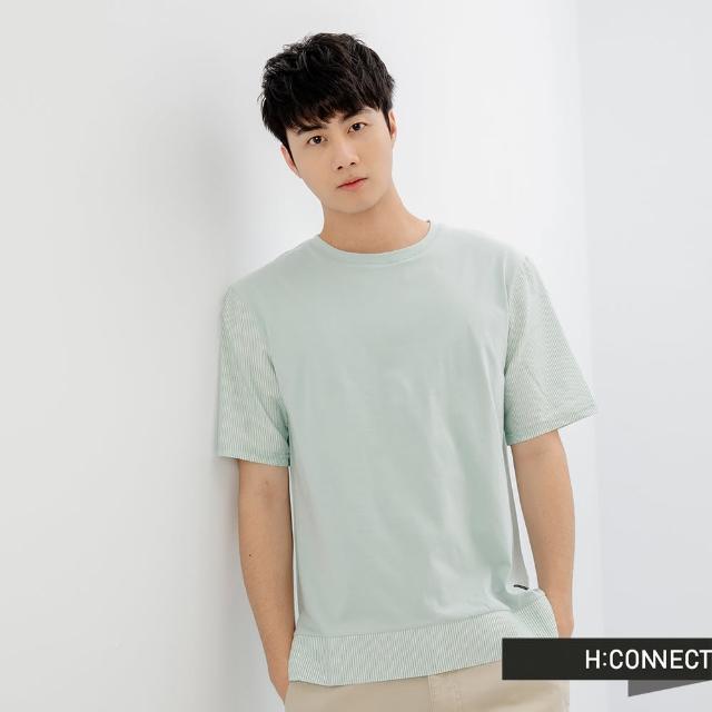 【H:CONNECT】韓國品牌 男裝 -純色異材質拼接短袖上衣(藍綠色)