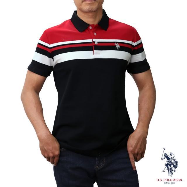 【U.S. POLO ASSN.】簡約條紋短袖POLO衫-紅色(紅色條紋)