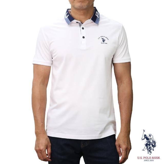 【U.S. POLO ASSN.】領口設計短袖POLO衫-純白色(經典設計)