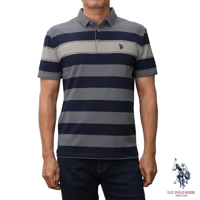 【U.S. POLO ASSN.】條紋短袖POLO衫-灰色條紋(灰色條紋)