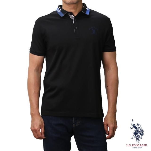 【U.S. POLO ASSN.】領口設計短袖POLO衫-黑色(經典設計)