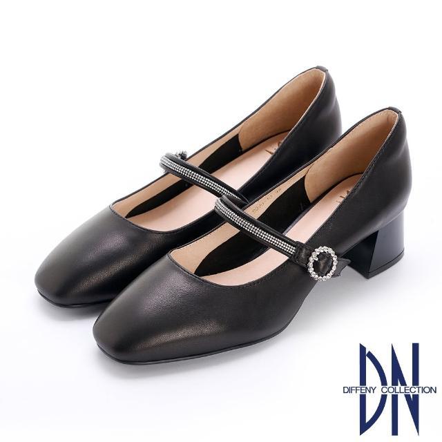 【DN】跟鞋_簡約繫帶水鑽妝點柔軟羊皮跟鞋(黑)