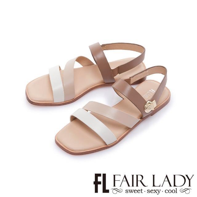 【FAIR LADY】初夏.簡約線條撞色休閒平底涼鞋(棕、122412)