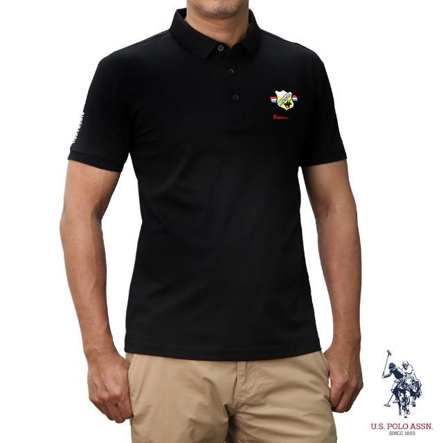 【U.S. POLO ASSN.】簡約徽章短袖POLO衫-黑色(經典LOGO)
