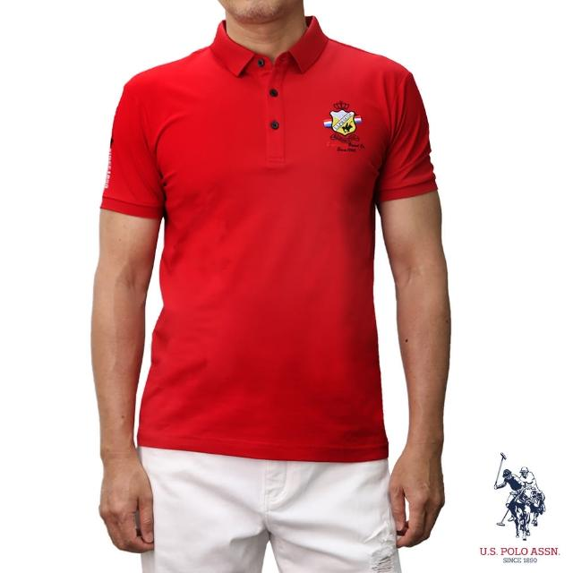 【U.S. POLO ASSN.】簡約徽章短袖POLO衫-紅色(經典LOGO)