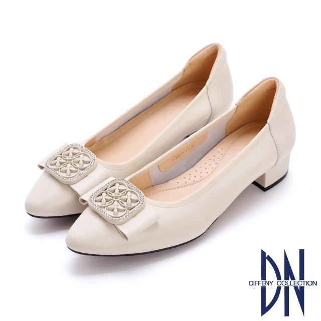 【DN】跟鞋_氣質方釦蝴蝶結真皮微尖低跟鞋(米白)