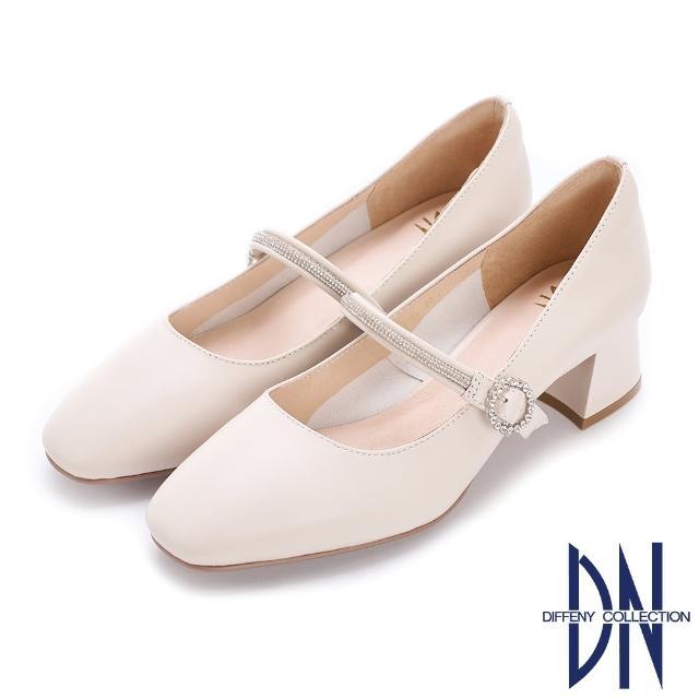 【DN】跟鞋_簡約繫帶水鑽妝點柔軟羊皮跟鞋(米白)