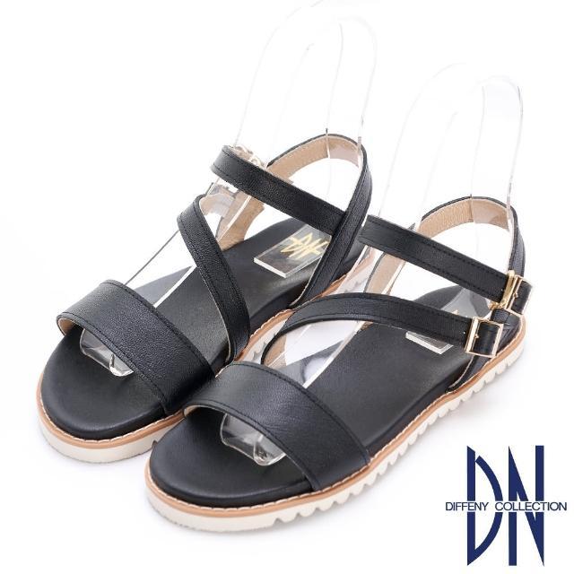 【DN】涼鞋_MIT真皮一字斜帶平底涼鞋(黑)