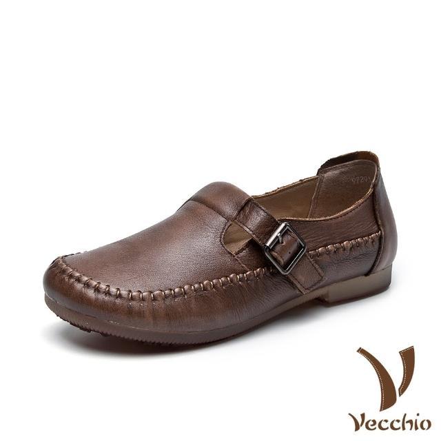 【Vecchio】真皮頭層牛皮復古手工縫線皮帶釦飾造型軟底舒適休閒鞋(棕)
