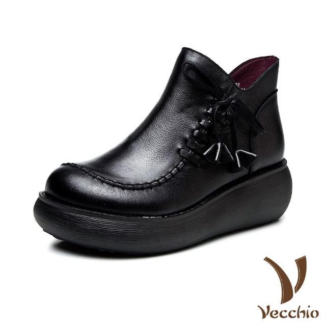 【Vecchio】真皮短靴 厚底短靴/真皮頭層牛皮復古縫線綁帶造型厚底舒適百搭短靴(黑)