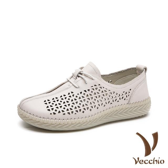 【Vecchio】真皮頭層牛皮舒適縷空手工縫線拼接造型軟底休閒鞋(白)