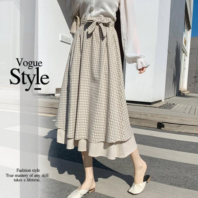 【DU 快時尚】時尚款蝴蝶結裝飾格紋造型長裙(M-L)