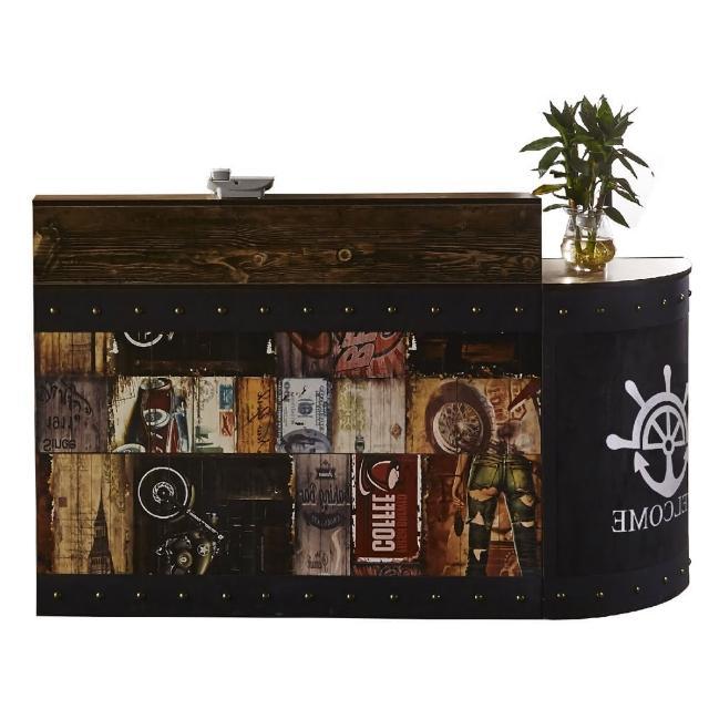 【AT HOME】美式設計5.5尺塗鴉圖騰造型多功能工作桌/收銀桌組(魯夫)