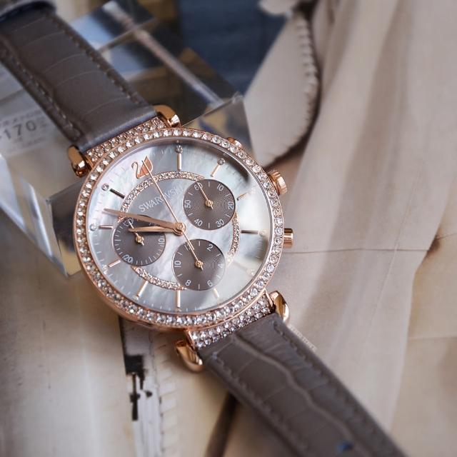 【SWAROVSKI 施華洛世奇】原廠平輸 PASSAGE CHRONO 灰色優雅三眼計時皮革錶帶(5580348)
