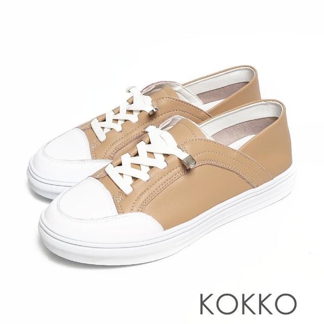 【KOKKO 集團】超舒適免綁帶牛皮後踩懶人厚底休閒鞋(卡其色)