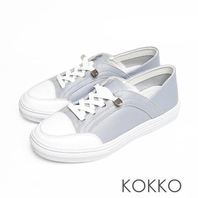 【KOKKO 集團】超舒適免綁帶牛皮後踩懶人厚底休閒鞋(灰藍色)