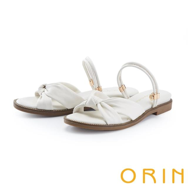 【ORIN】交叉扭結羊皮平底 女 涼拖鞋(白色)