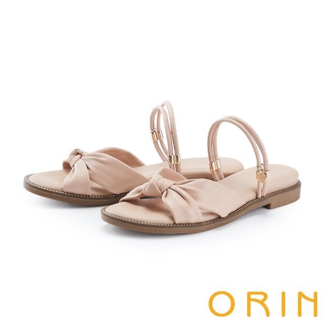 【ORIN】交叉扭結羊皮平底 女 涼拖鞋(裸色)