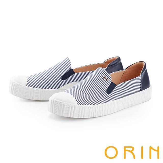 【ORIN】個性條紋拼接厚底 女 休閒鞋(藍色)