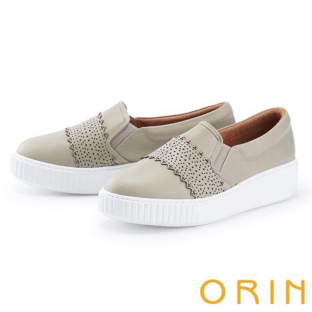 【ORIN】鞋頭造型真皮厚底 女 休閒鞋(灰綠)