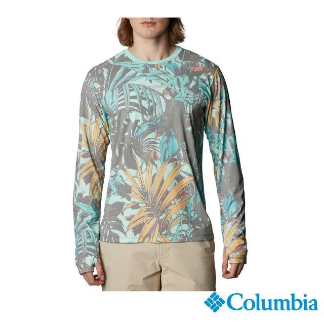 【Columbia 哥倫比亞】男款-UPF50抗曬快排長袖上衣-印花(UAE07580FW / 快排.防曬.休閒)