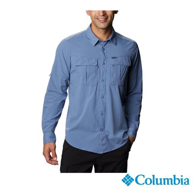 【Columbia 哥倫比亞】男款-UPF40快排長袖襯衫-墨藍(UAE07620IB / 快排.防曬.休閒)