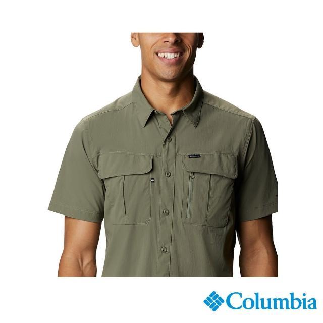 【Columbia 哥倫比亞】男款-UPF30快排短袖襯衫-軍綠(UAE07630AG / 快排.防曬.休閒)