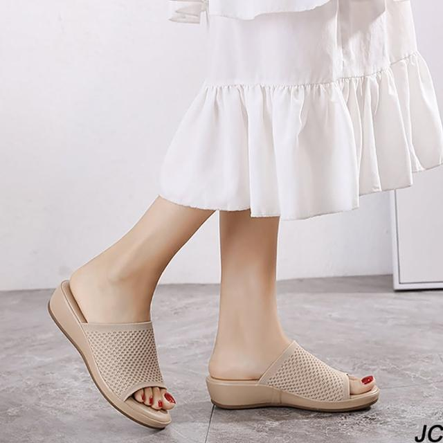【JC Collection】優質輕軟飛織面舒適厚底坡跟休閒涼拖鞋(藍色、米色)