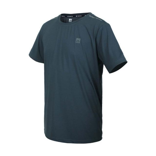 【FIRESTAR】男彈性機能圓領短袖T恤-運動 慢跑 路跑 上衣 涼感 反光 灰綠銀(D1732-16)