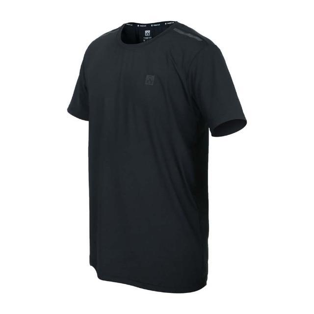 【FIRESTAR】男彈性機能圓領短袖T恤-運動 慢跑 路跑 上衣 涼感 反光 黑灰(D1732-10)